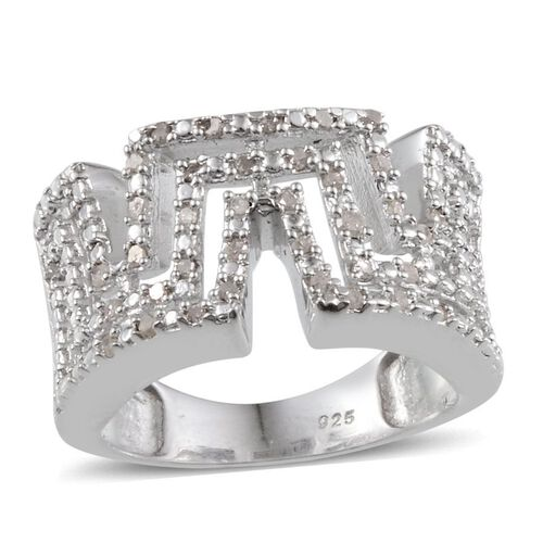 Diamond (Rnd) Ring in Platinum Overlay Sterling Silver 0.250 Ct.