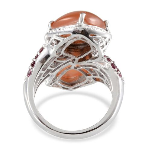 Mitiyagoda Peach Moonstone (Cush), Rhodolite Garnet and Diamond Ring in Platinum Overlay Sterling Silver 11.520 Ct.