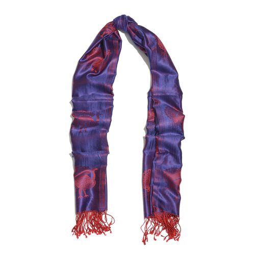 SILK MARK - 100% Superfine Silk Red and Purple Colour Peacock Printed Jacquard Jamawar Scarf with Fringes at the Bottom (Size 180x70 Cm) (Weight 125-140 Gms)