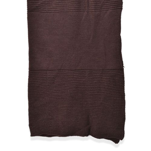 Dark Chocolate Colour Pull Through Scarf (Size 150x60 Cm)
