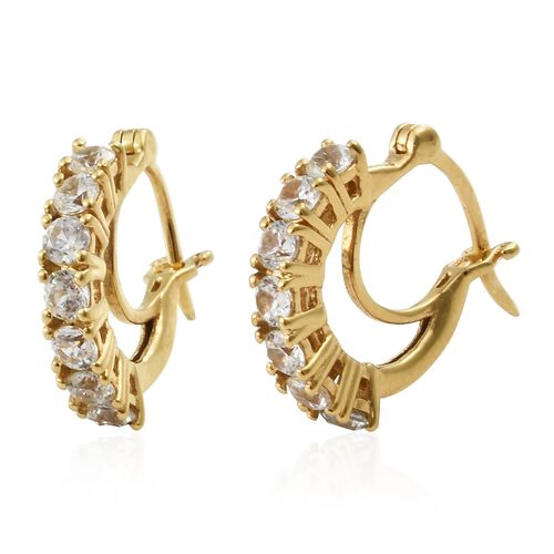 Natural Cambodian Zircon Hoop Earrings (with Clasp) in Gold Plated Silver 2.25 Ct
