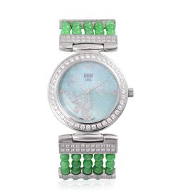 EON 1962 Swiss Movement Diamond Studded MOP Dial Watch with Simulated White Diamond in Silver Tone with Green Jade Strap 52.360 Ct.