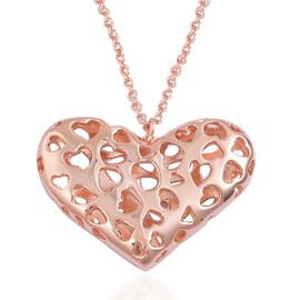 RACHEL GALLEY Rose Gold Overlay Sterling Silver Lattice Heart Pendant With Chain (Size 30), Silver wt. 16.17 Gms.