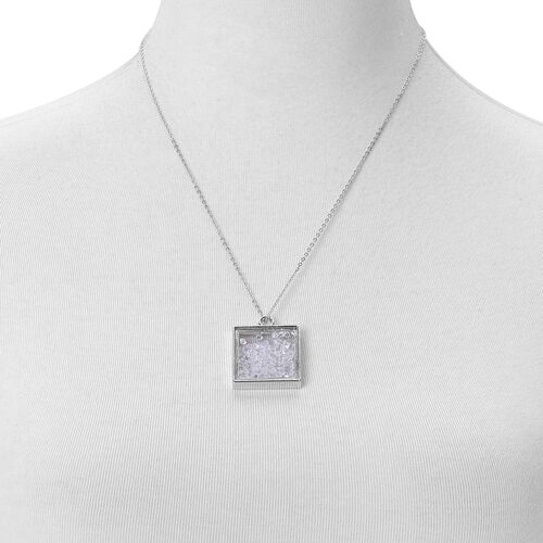 Simulated White Diamond Filled Square Shape Pendant With Chain (Size 24) in Silver Tone with Stainless Steel