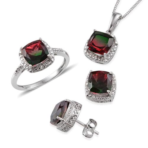 Tourmaline Colour Quartz (Cush), Diamond Ring, Pendant With Chain and Stud Earrings (with Push Back) in Platinum Overlay Sterling Silver 10.040 Ct.