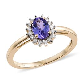 9K Yellow Gold 1 Carat AA Tanzanite Halo Ring with Diamond