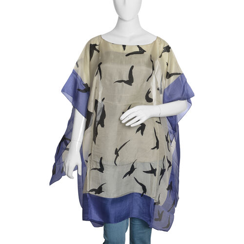 100% Mulberry Silk Off White, Black and Blue Colour Handscreen Flying Birds Printed Kaftan (Free Size)