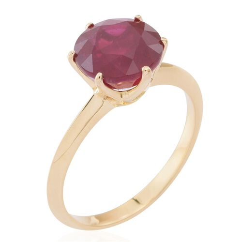 9K Y Gold AAA African Ruby (Rnd) Solitaire Ring 6.000 Ct.