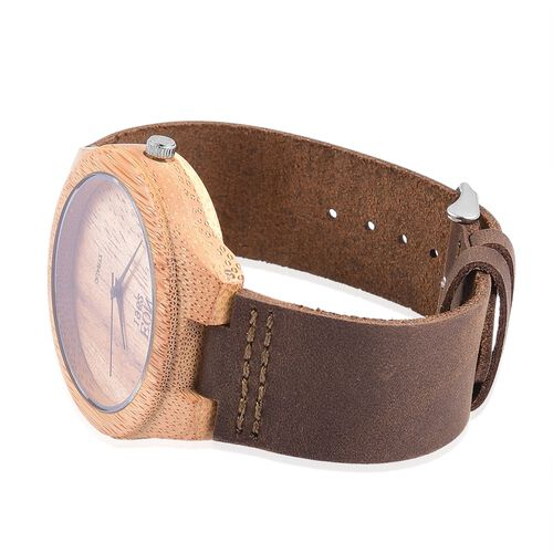 100% Natural Hand-Crafted - EON 1962 Japanese Movement Wood Dial with Coffee Leather Strap Watch
