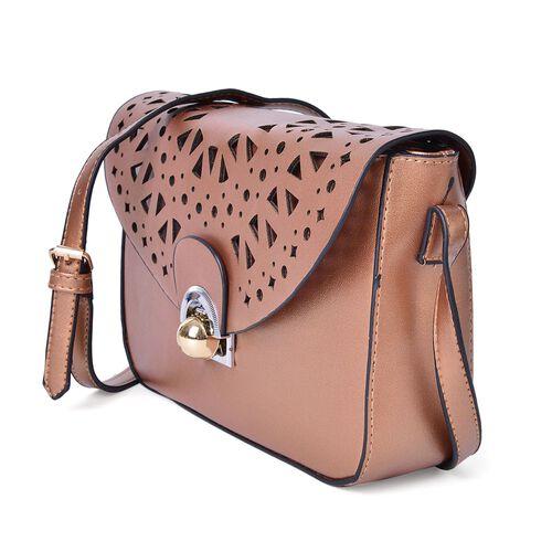 Bronze Colour Lazer Cut Pattern Crossbody Bag with Adjustable Shoulder Strap (Size 23.5X17X6.5 Cm)