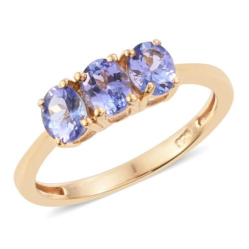 Tanzanite 1 Carat Silver Trilogy Ring in Gold Overlay