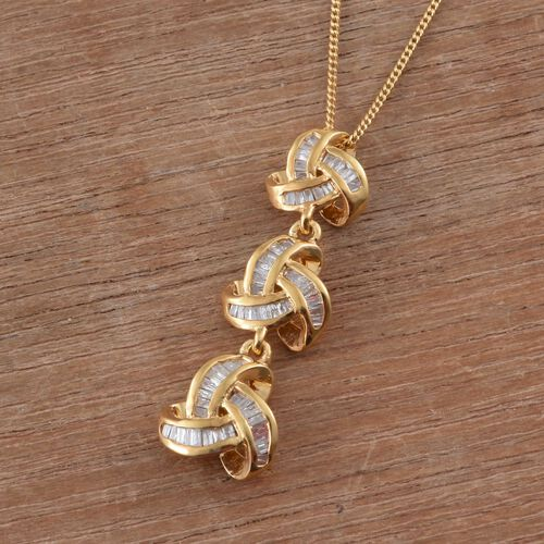 Diamond (Bgt) Triple Knot Pendant with Chain in 14K Gold Overlay Sterling Silver 0.330 Ct.