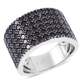 Boi Ploi Black Spinel Cluster Ring in Black Rhodium Plated Sterling Silver 2.900 Ct.