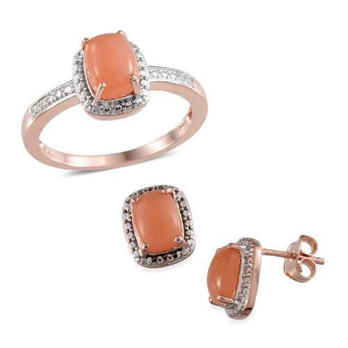 Mitiyagoda Peach Moonstone (Cush) Solitaire Ring and Stud Earrings (With Push Back) in Rose Gold Overlay Sterling Silver 5.250 Ct.