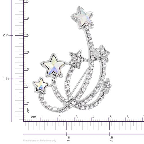 AAA Simulated Magic White Austrian Crystal Star with Twinkling Trail Design Brooch in Silver Tone