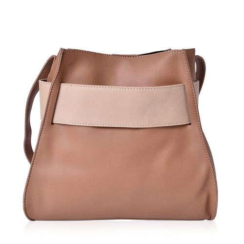Set of 2 - Tan and Cream Colour Large Handbag with Adjustable Shoulder Strap and Small Handbag (Size 28x25x12.5 Cm, 17.5x15x7.5 Cm)