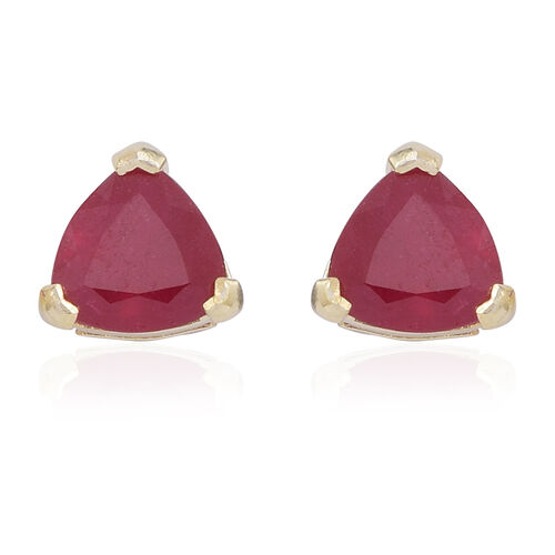 African Ruby (Trl) Stud Earrings (with Push Back) in 14K Gold Overlay Sterling Silver 5.000 Ct.