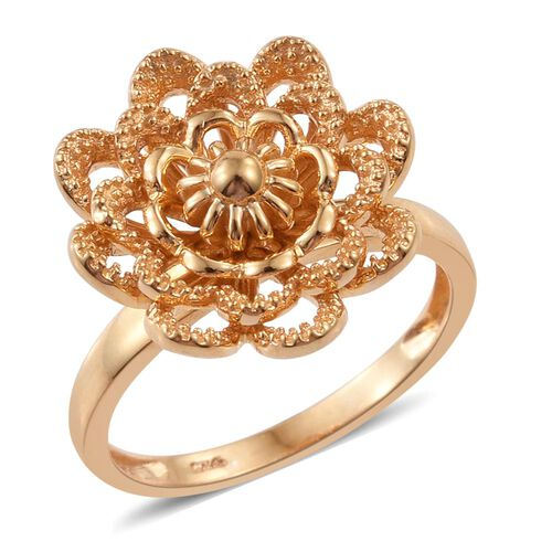 Silver Flower Ring in Gold Overlay, Silver wt. 4.33 Gms