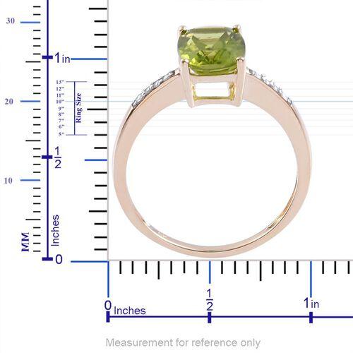 9K Y Gold AAA Hebei Peridot (Cush 2.00 Ct), White Zircon Ring 2.060 Ct.