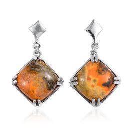 Bumble Bee Jasper (Cush) Earrings (with Push Back) in Platinum Overlay Sterling Silver 12.250 Ct.