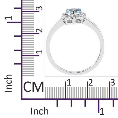 9K White Gold AA Santa Maria Aquamarine (Hrt), Natural Cambodian Zircon Ring 1.000 Ct.