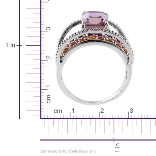 Anahi Ametrine (Oct 2.75 Ct), Citrine and Amethyst Ring in Platinum Overlay Sterling Silver 4.300 Ct.