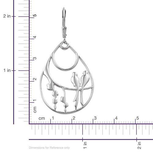 Platinum Overlay Sterling Silver Lovebird Earrings, Silver wt 7.00 Gms.