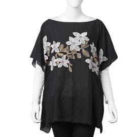 Black, White and Pink Colour Embroidered Jasmine Flower Pattern Poncho (Size 90x70 Cm)
