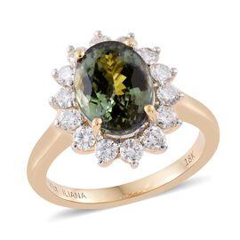 ILIANA 18K Yellow Gold 5 Carat Rare AAA Natural Green Tanzanite Halo Ring with Diamond SI G-H