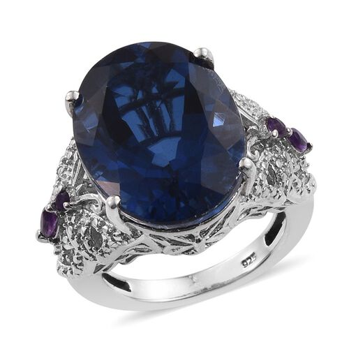 Ceylon Colour Quartz (Ovl 15.00 Ct), Amethyst and Diamond Ring in Platinum Overlay Sterling Silver 15.160 Ct.