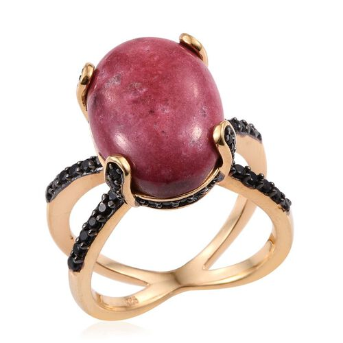 Norwegian Thulite (Ovl 14.00 Ct), Boi Ploi Black Spinel Ring in 14K Gold Overlay Sterling Silver 15.250 Ct.