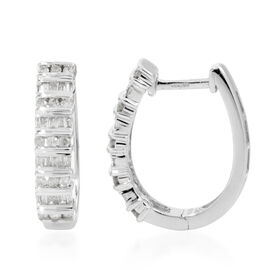 9K White Gold Diamond (Rnd) (I3/G-H) Hoop Earrings 0.500 Ct.Gold Wt 4.25 Gms.