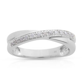9K White Gold 0.15 Ct Diamond Criss Cross Ring I3 G-H, SGL Certified