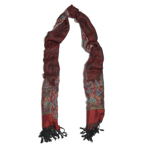 Red, Maroon and Multi Colour Scarf with Tassels (Size 180x70 Cm)
