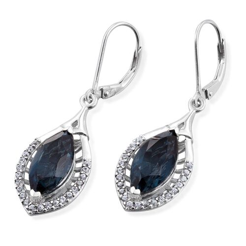 Indicolite Quartz (Mrq), Natural Cambodian Zircon Lever Back Earrings in Platinum Overlay Sterling Silver 7.250 Ct.