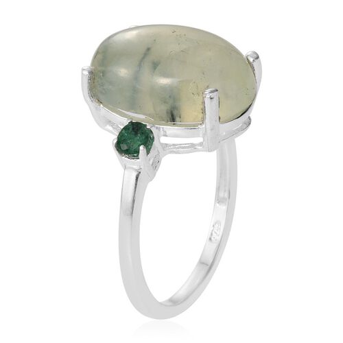 Prehnite (Ovl), Brazilian Emerald Ring in Sterling Silver 6.135 Ct.