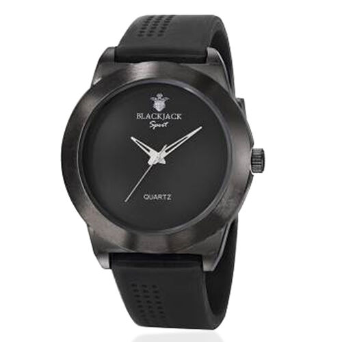 Limited Available-BLACKJACK Japanese Movement Black Colour Dial Water Resistant Watch in Black Tone with Stainless Steel Back and Black Rubber Strap