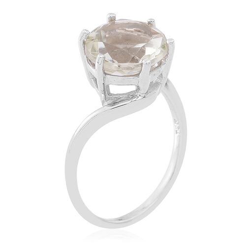 Green Amethyst (Rnd) Solitaire Ring in Rhodium Plated Sterling Silver 5.000 Ct.