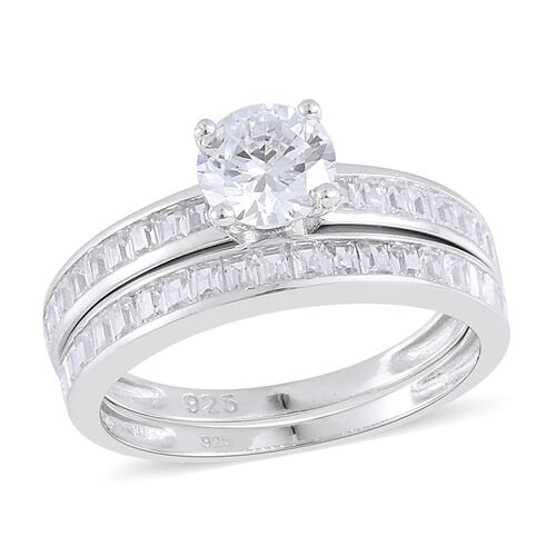 Set of 2 - AAA Simulated Diamond Ring in Rhodium Plated Sterling Silver