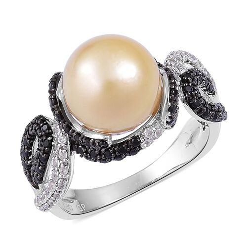 GP South Sea Golden Pearl (Rnd 10-11 mm), Madagascar Blue Sapphire, Boi Ploi Black Spinel and Natural Cambodian White Zircon Ring in Black Rhodium Plated Sterling Silver