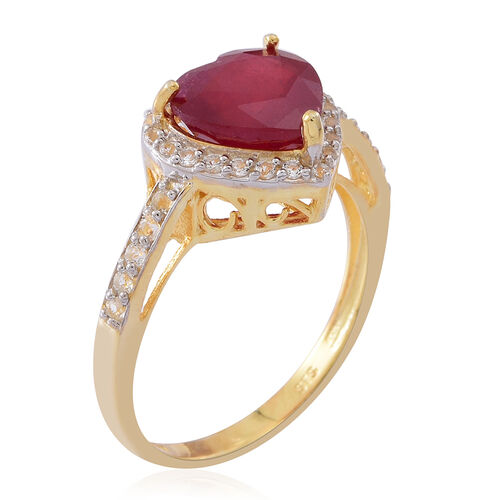 African Ruby (Hrt 5.00 Ct), White Zircon Ring in 14K Gold Overlay Sterling Silver 6.000 Ct.