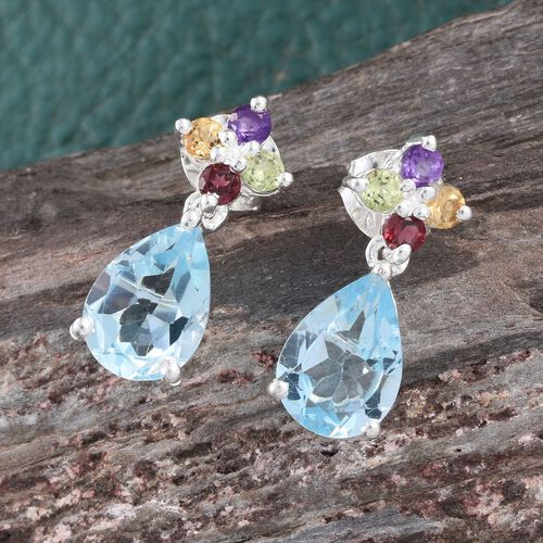 Sky Blue Topaz (Pear), Amethyst, Citrine, Rhodolite Garnet and Hebei Peridot Earrings (with Push Back) in Sterling Silver 5.000 Ct.