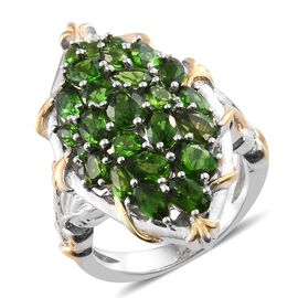 Russian Diopside (Ovl) Ring in Platinum Overlay Sterling Silver 5.000 Ct.