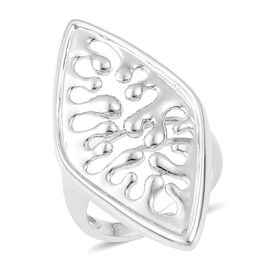 LucyQ Oval Wave Ring in Rhodium Plated Sterling Silver 6.99 Gms.