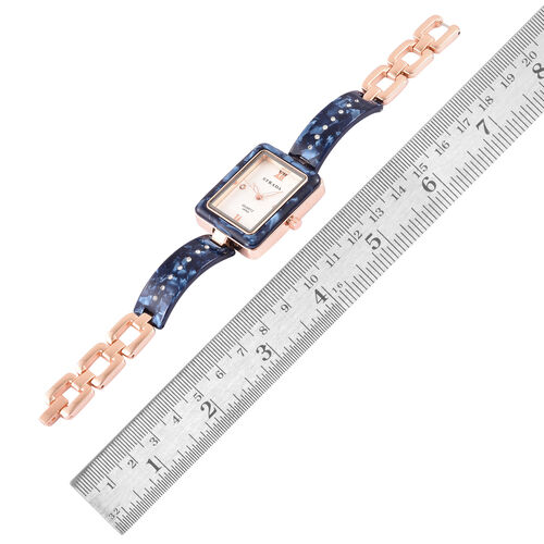 STRADA Japanese Movement White Austrian Crystal Studded Dial Watch in Rose Gold Tone with Blue Colour Strap