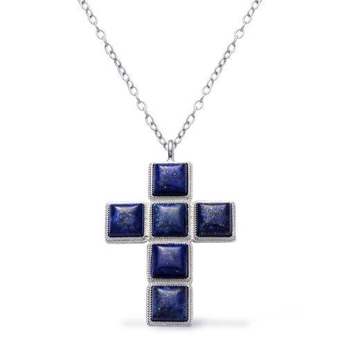 Lapis Lazuli Cross Pendant in Silver Tone with Stainless Steel Chain 50.000 Ct.