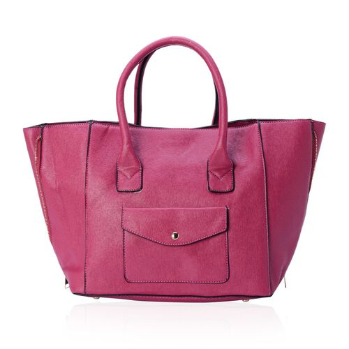 Set of 2 - Fuchsia Colour Large and Small with Adjustable and Removable Shoulder Strap Tote Bag (Size 53x28x18 Cm, 25x21x10 Cm)