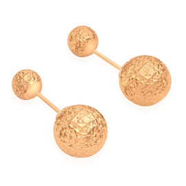 JCK Vegas Collection 9K Rose Gold 6MM and 10MM Diamond Cut Ball Frock Earrings