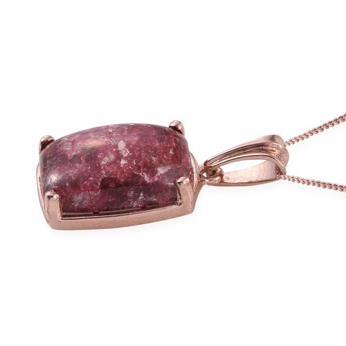Norwegian Thulite (Cush) Pendant With Chain in Rose Gold Overlay Sterling Silver 16.000 Ct.