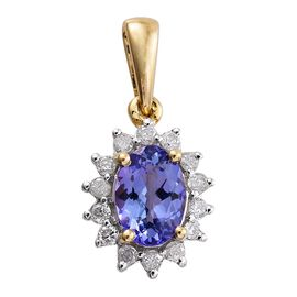9K Yellow Gold 1 Carat AA Tanzanite Halo Pendant with Diamond